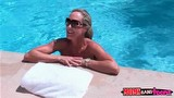 Brandi Love meets Natalia`s friend Xander swimming naked in pool.